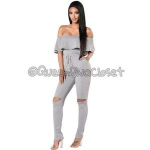 Knit cotton grey ruffle off shoulder jumpsuit L